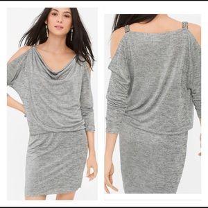 🍷 COLD-SHOULDER SILVER JERSEY DRESS 🍷